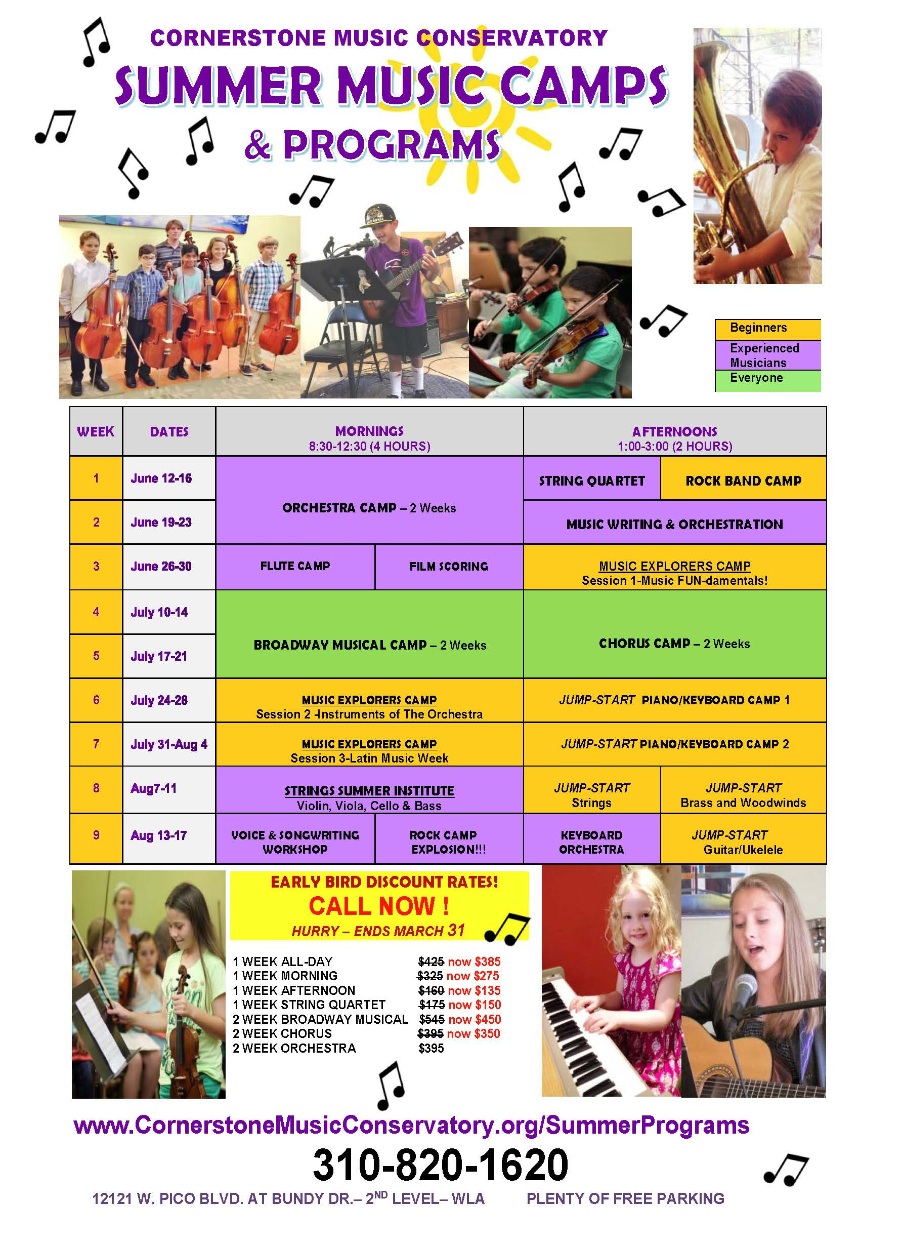 EARLY BIRD Summer Music Camps 2017